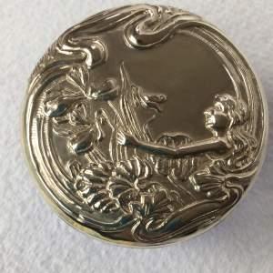Art Nouveau style Silver Lidded Glass Box