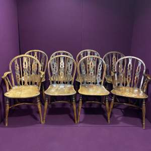 Set of Eight 19th Century Thames Valley Yew and Elm Chairs