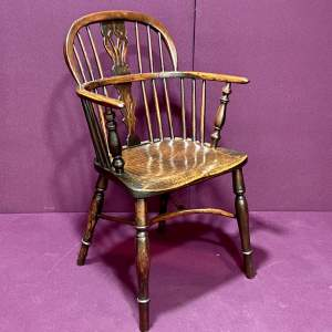 19th Century Yew Wood Low Back Windsor Chair
