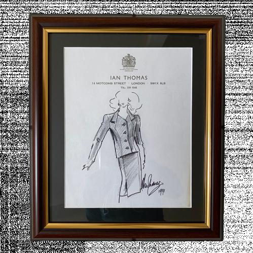 Original Fashion Drawing by Ian Thomas - dressmaker for the Royal Family image-1
