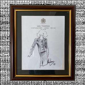 Original Fashion Drawing by Ian Thomas - dressmaker for the Royal Family