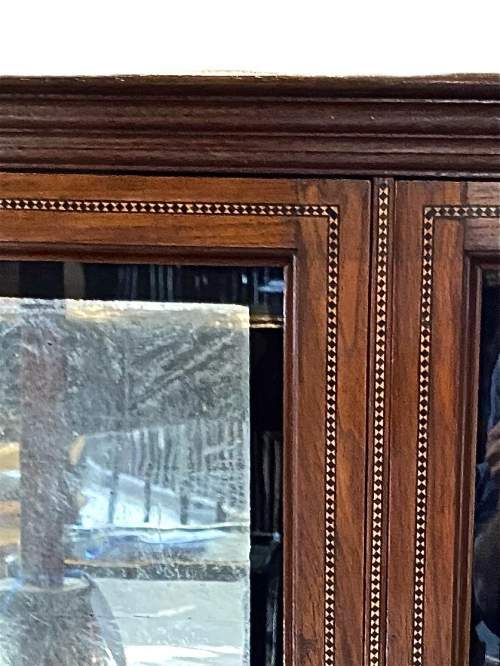 19th Century Inlaid Mahogany Wall Cabinet image-2