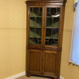 Glazed Oak Corner Cupboard Circa 1800