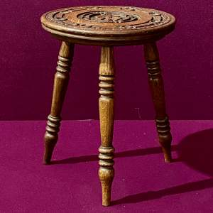 Small Three Leg Carved Wooden Stool