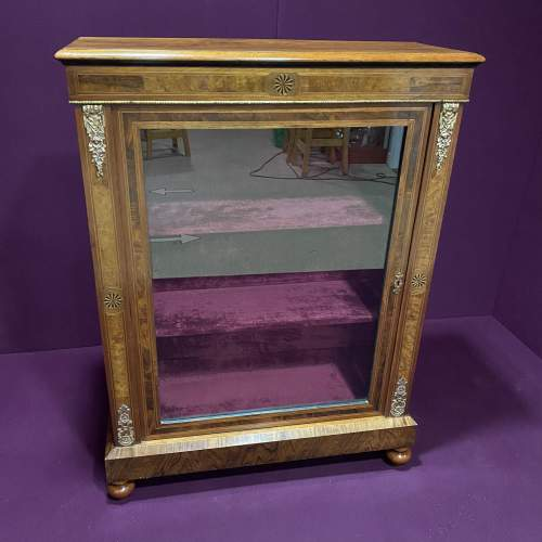 Edwardian Inlaid Walnut Display Cabinet image-1