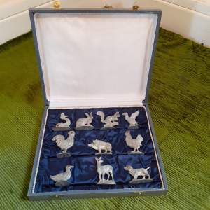 Art Deco Menu Holders of Animal Themes in Original Box