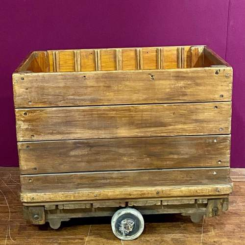 Mid 20th Century English Wooden Industrial Trolley image-2