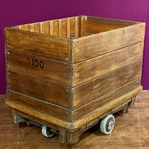 Mid 20th Century English Wooden Industrial Trolley image-3
