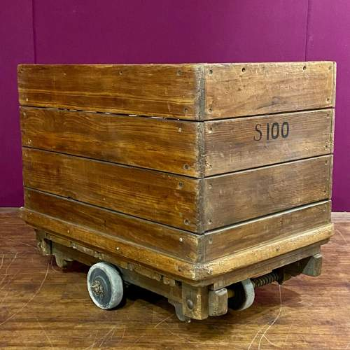 Mid 20th Century English Wooden Industrial Trolley image-1