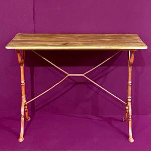1930s French Pine Topped Bistro Table
