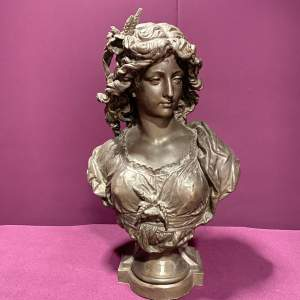 Victorian Spelter Head and Shoulder Bust by Auguste Moeau