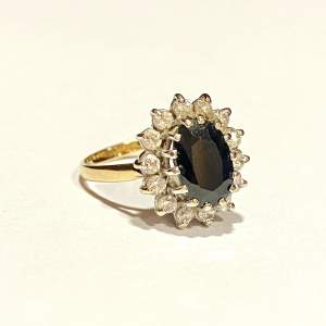Vintage 9ct Gold Sapphire & Cubic Zirconia Ring