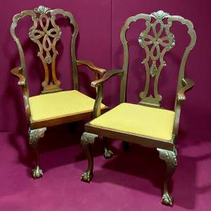 Early 20th Century Pair of Mahogany Carver Chairs