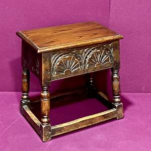 Early 20th Century Carved Oak Box Stool