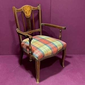 19th Century Inlaid Mahogany Armchair