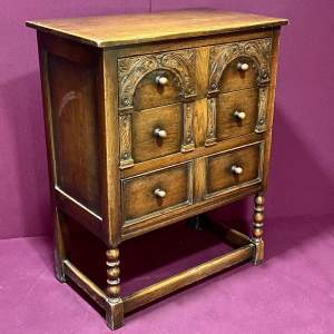 1930s Carved Oak Chest of Drawers on Legs