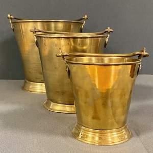 Set Of Three Brass Dairy Buckets