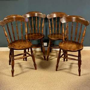 Matching Set Of Four Late Victorian Ash and Elm Windsor Chairs.