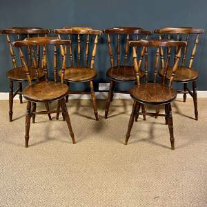 Matching Set Of Six Victorian Windsor Ash And Elm Chairs