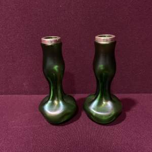 Pair of Silver Mounted Iridescent Green Glass Vases