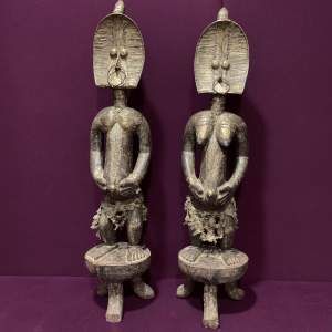 Pair of Large Kota Mahognqwe Reliquary Figures