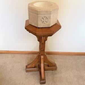 Carved Stone Baptism Font on Oak Stand - Ecclesiastical Antiques