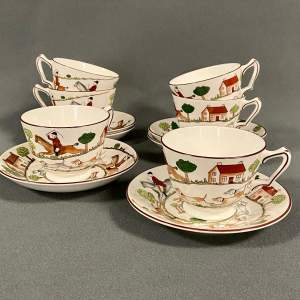 Coalport Hunting Scene Six Cups And Saucers