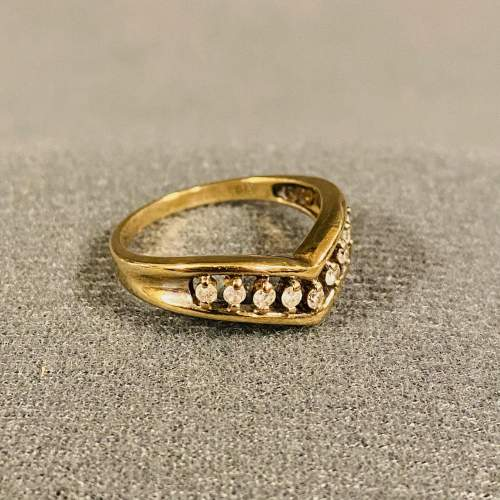Antique 9ct Gold Wishbone Ring with Diamonds image-1