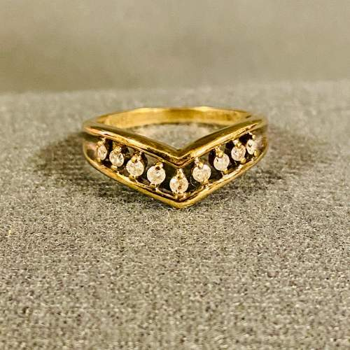 Antique 9ct Gold Wishbone Ring with Diamonds image-2