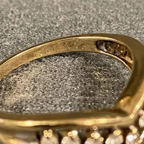 Antique 9ct Gold Wishbone Ring with Diamonds image-4