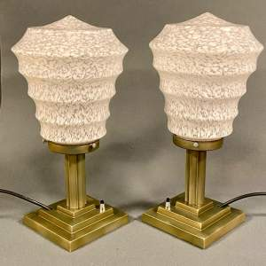 Pair of Art Deco Stepped Metal Base Lights
