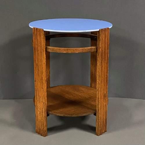 Unusual Art Deco Wooden Table with Light Blue Vitrolite Top image-1