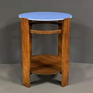 Unusual Art Deco Wooden Table with Light Blue Vitrolite Top