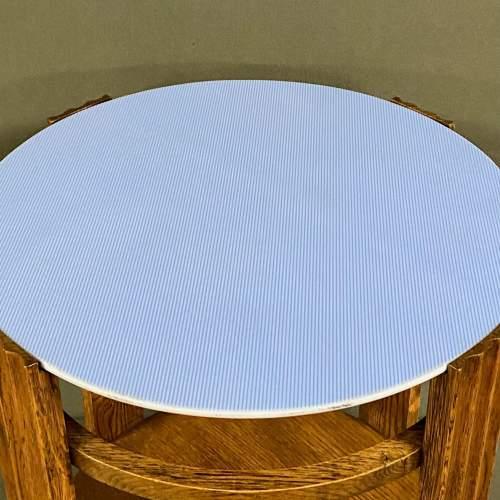 Unusual Art Deco Wooden Table with Light Blue Vitrolite Top image-2