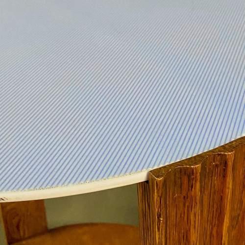 Unusual Art Deco Wooden Table with Light Blue Vitrolite Top image-3