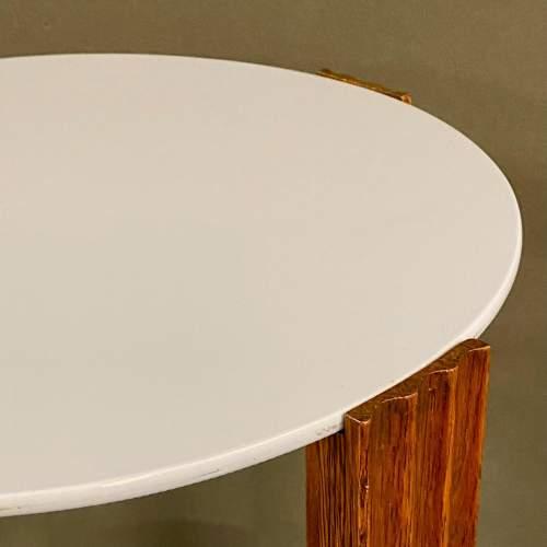 Unusual Art Deco Wooden Table with Light Blue Vitrolite Top image-4