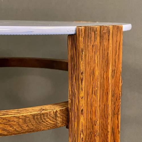 Unusual Art Deco Wooden Table with Light Blue Vitrolite Top image-5