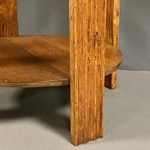 Unusual Art Deco Wooden Table with Light Blue Vitrolite Top image-6