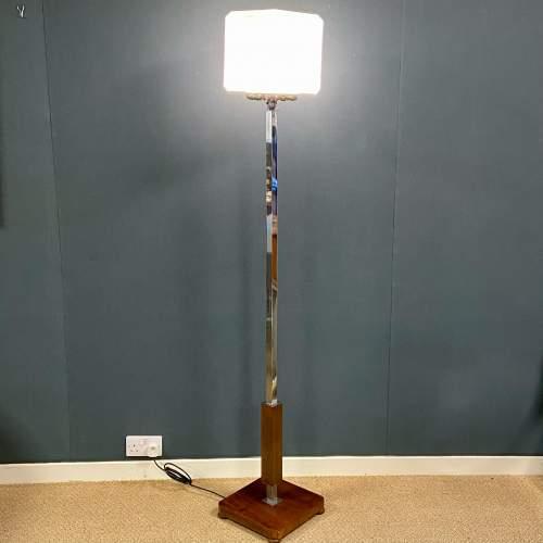 Rare Shape Art Deco Chrome Standard Lamp image-1