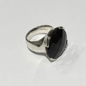 Vintage Silver and Jet Onyx Monet Ring