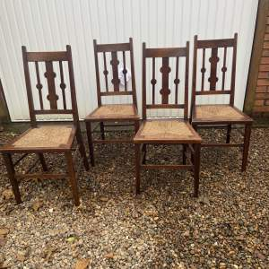 Good Set of Four Oak Arts and Crafts Dining Chairs