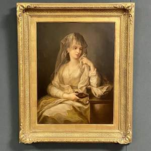 Mid 19th Century Oil On Canvas Study Of A Woman