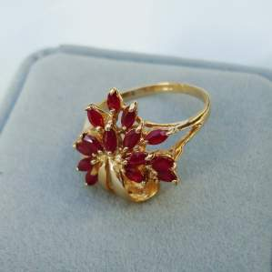 A 9ct Gold Ruby Flower Spray Ring