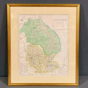 19th Century Framed Map Of Lincolnshire