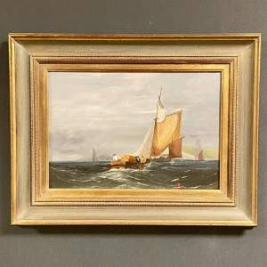 Oil on Board Painting of Fishing Boats Off The South Coast