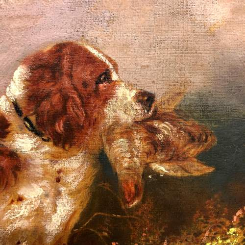 English School 19th Century Oil On Canvas of a Springer Spaniel image-2