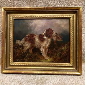 English School 19th Century Oil On Canvas of a Springer Spaniel
