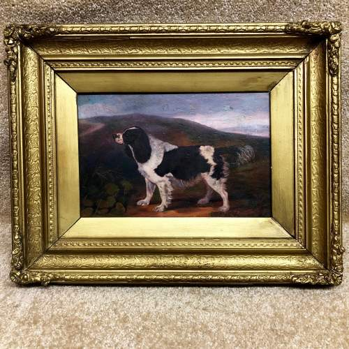 19th Century Oil On Canvas of a Spaniel In Landscape image-1