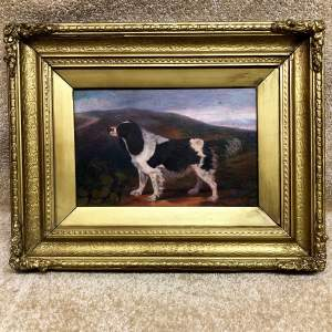 19th Century Oil On Canvas of a Spaniel In Landscape