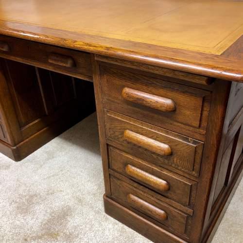 1920s Golden Oak Pedestal Desk image-2